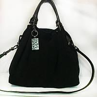 Замшевая ЧЕРНАЯ сумка кожаные ручки (серебро)