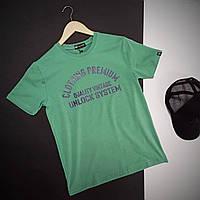 Мужская футболка с логотипом на груди / Летняя хлопковая футболка