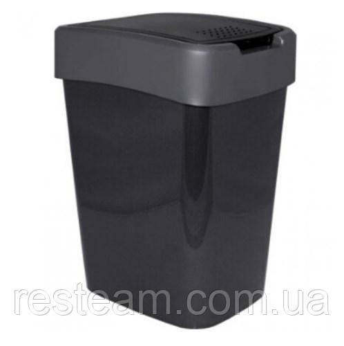 "Ведро для мусора плоская кр. 18 л ""Євро"" гранит+серый"