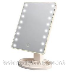 Настільне дзеркало для макіяжу SUNROZ з LED підсвічуванням Біле (hub_RVIJ27514)