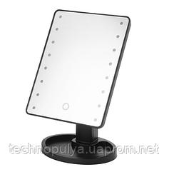 Настільне дзеркало для макіяжу SUNROZ з LED підсвічуванням Чорне (hub_APnH59223)