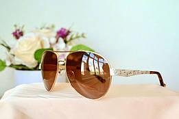 Поляризованные солнцезащитные коричневые очки в золотой оправе