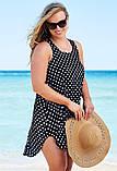 Женская красивая пляжная туника- рубашка в горох батал, фото 2
