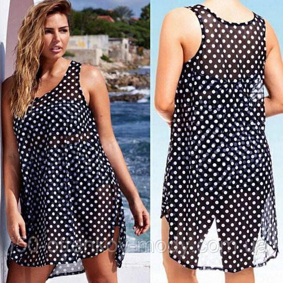 Женская красивая пляжная туника- рубашка в горох батал