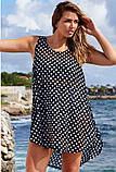 Женская красивая пляжная туника- рубашка в горох батал, фото 3