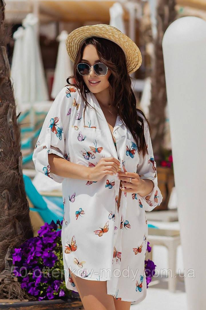Жіноча красива пляжна туніка - сорочка з принтом