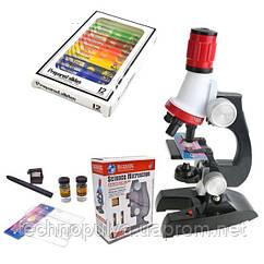 Детский микроскоп для школьника или ребенка Chanseon 1412 (1200 Х) + 12 биологических образцов (100096)