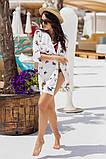 Женская красивая пляжная туника- рубашка с принтом, фото 3