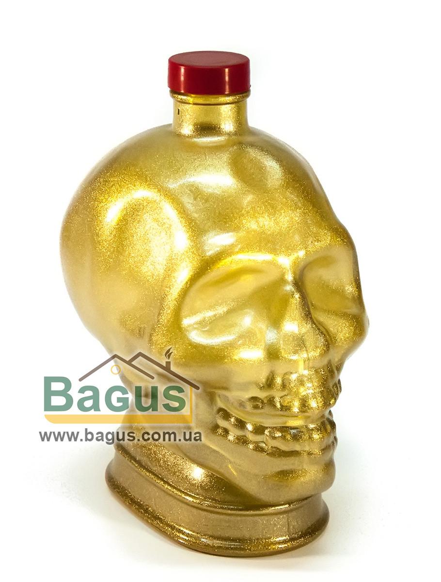 """Бутылка стеклянная 1л с крышкой в виде человеческого черепа """"Череп"""", цвет - золотистый"""