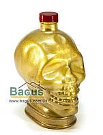 """Бутылка стеклянная 1л с крышкой в виде человеческого черепа """"Череп"""", цвет - золотистый, фото 1"""