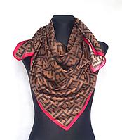 Шелковый платок Энди 90*90 см коричневый