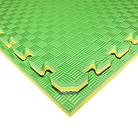 Татами IZOLON EVA SPORT 100х100х2,6см, жёлто-зелёный с бортиком