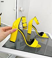Жіночі шкіряні босоніжки на підборах 35-40 р жовтий, фото 1
