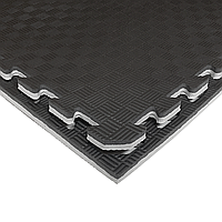 Татами IZOLON EVA SPORT 100х100х2,6см, чёрно-серый с бортиком