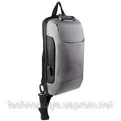 Рюкзак на одно плечо Ozuko 9223 с кодовым замком и USB портом Серый (4212-12246)