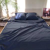 Двоспальне постільна білизна RANFORCE однотонне темно-синє
