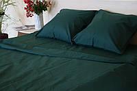 Двоспальне постільна білизна RANFORCE однотонне темно-зелене