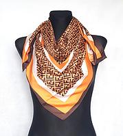 Шелковый платок Энди 90*90 см коричневый/оранжевый