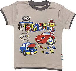 Дитяча футболка на хлопчика ріст 98 2-3 роки для малюків з принтом малюнком Тачки гарна трикотажна сіра