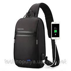 Рюкзак на одно плечо Kingsons KS3174W с USB портом Черный (4207-12225)