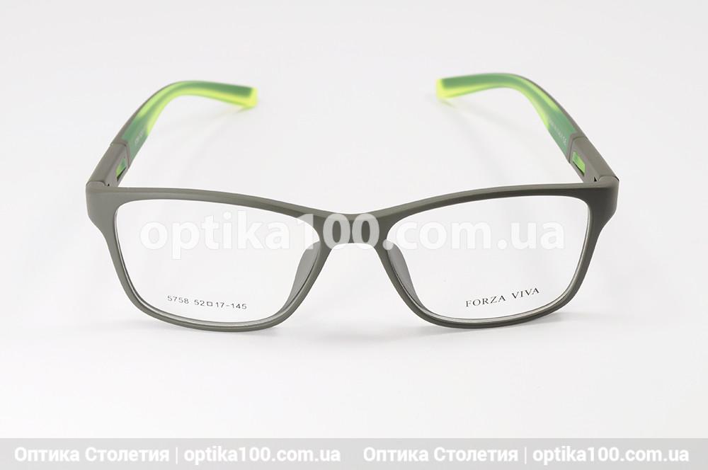 Оправа для окулярів у спортивному стилі. Оливково-зелена пластикова матова