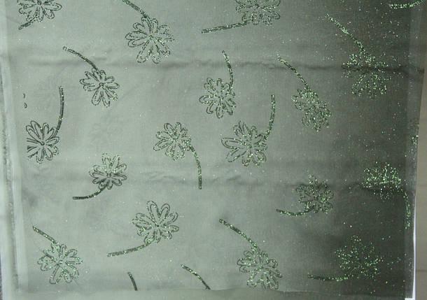 Шифон, цветы, с блестками (темно-зеленый), фото 2