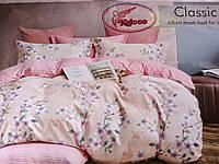 Постельное белье Евро размера Classic бежевое с цветами