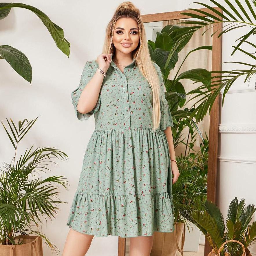 Летнее свободное платье-рубашка в цветочек из штапеля