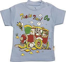 Дитяча футболка на хлопчика ріст 104 3-4 роки для дітей з принтом малюнком гарна трикотажна блакитна