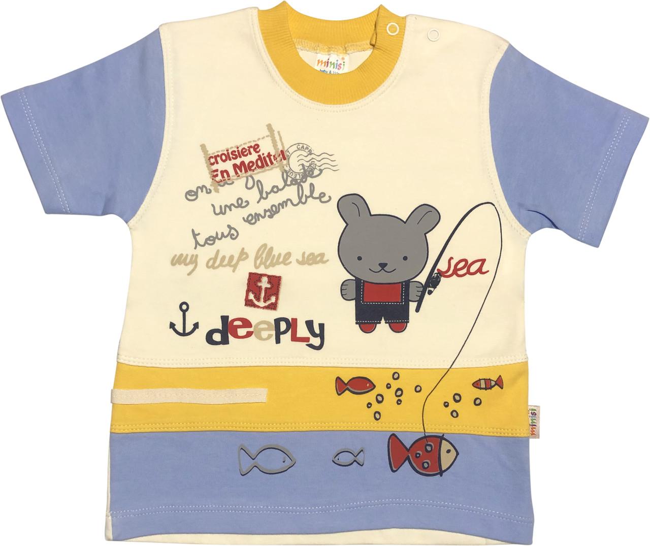 Детская футболка на мальчика рост 92 1,5-2 года для малышей с принтом рисунком красивая трикотажная молочная