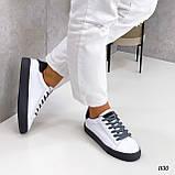 Жіночі кросівки - кеди білі з сірими еко-шкіра з перфорацією весна / літо/ осінь, фото 3