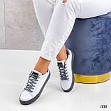 Жіночі кросівки - кеди білі з сірими еко-шкіра з перфорацією весна / літо/ осінь, фото 4