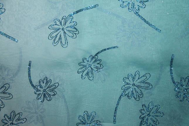 Шифон, цветы, с блестками (бирюзовый), фото 2