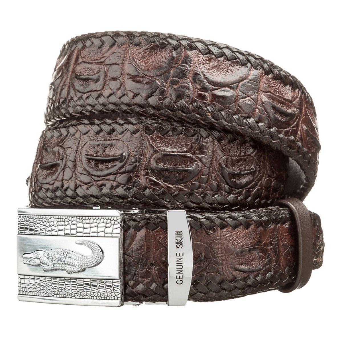 Ремень автоматический CROCODILE LEATHER 18598 из натуральной кожи крокодила Коричневый