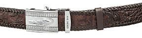 Ремень автоматический CROCODILE LEATHER 18598 из натуральной кожи крокодила Коричневый, фото 2