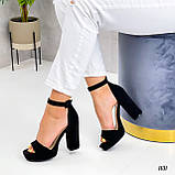 Жіночі босоніжки чорні на підборах 10,5 см еко-замш, фото 4