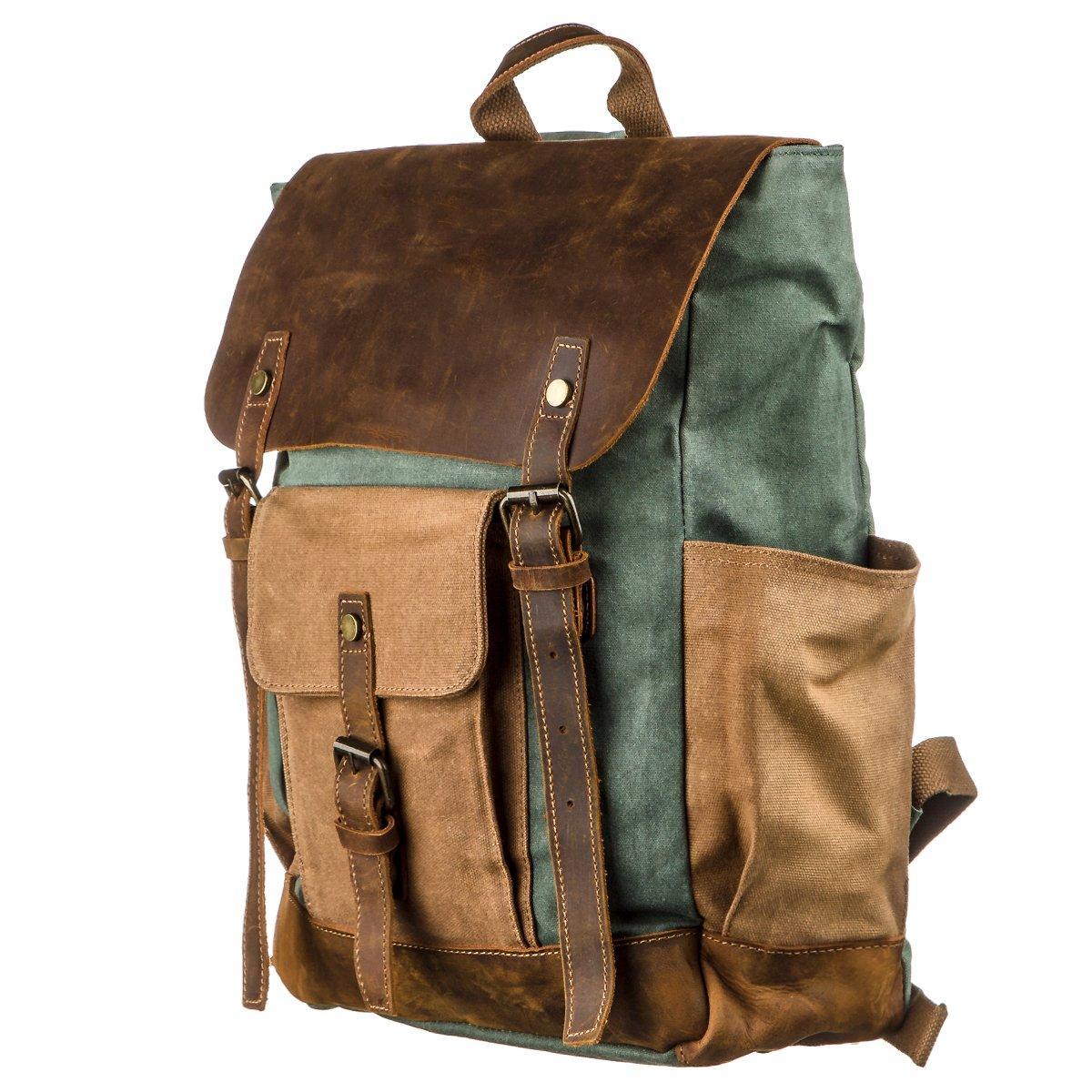 Рюкзак з бічними кишенями canvas Vintage 20112 Світло-сірий