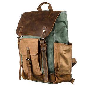 Рюкзак з бічними кишенями canvas Vintage 20112 Світло-сірий, фото 2