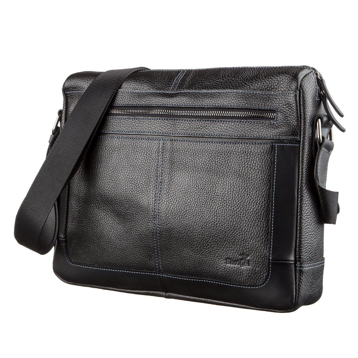 Ділова чоловіча сумка зі шкіри флотар на плече SHVIGEL 11244 Чорна