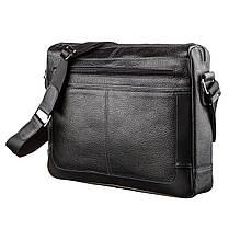 Ділова чоловіча сумка зі шкіри флотар на плече SHVIGEL 11244 Чорна, фото 2