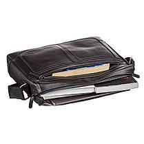 Ділова чоловіча сумка зі шкіри флотар на плече SHVIGEL 11244 Чорна, фото 3