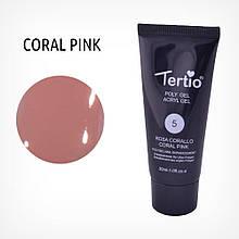 Полигель для нігтів Tertio Poly Gel Acryl Gel Polygel Nail Enhancement №05 Coral Pink, 30 мл