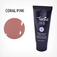 Полигель для ногтей Tertio Poly Gel Acryl Gel Polygel Nail Enhancement №05 Coral Pink, 30 мл