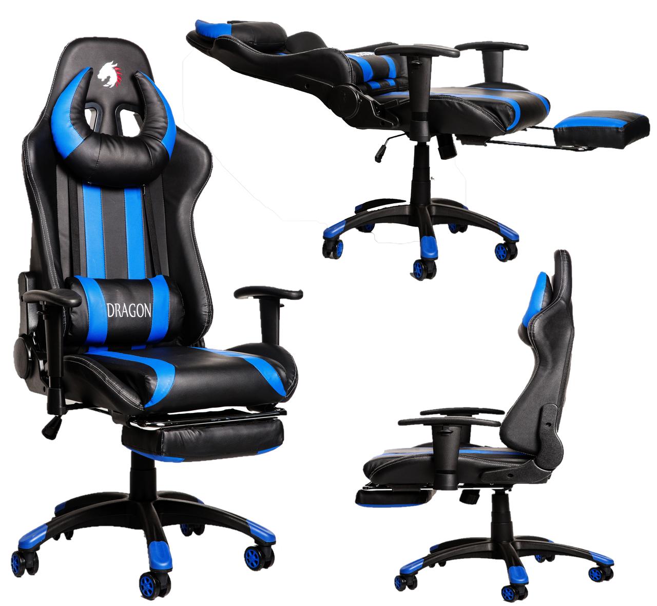 Комп'ютерне крісло для геймерів ZANO BLUE DRAGON