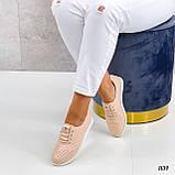 Стильні мокасини/туфлі жіночі пудра - рожеві натуральна прес шкіра з перфорацією, фото 3