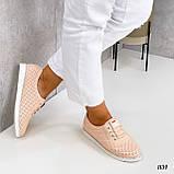 Стильні мокасини/туфлі жіночі пудра - рожеві натуральна прес шкіра з перфорацією, фото 4