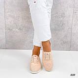 Стильні мокасини/туфлі жіночі пудра - рожеві натуральна прес шкіра з перфорацією, фото 6