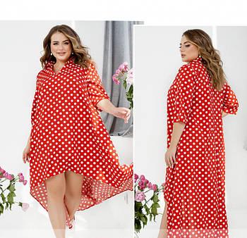 / Размер 50-52,54-56,58-60 / Женское воздушное легкое платье А-силуэта / 1024-Красный