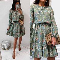 Женское весеннее платье в цветочек с длинным рукавом новинка 2021