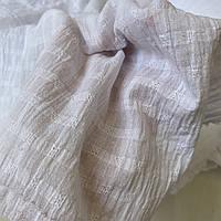 Батист білий жаккард жатий в клітинку, ш. 135 см, фото 1
